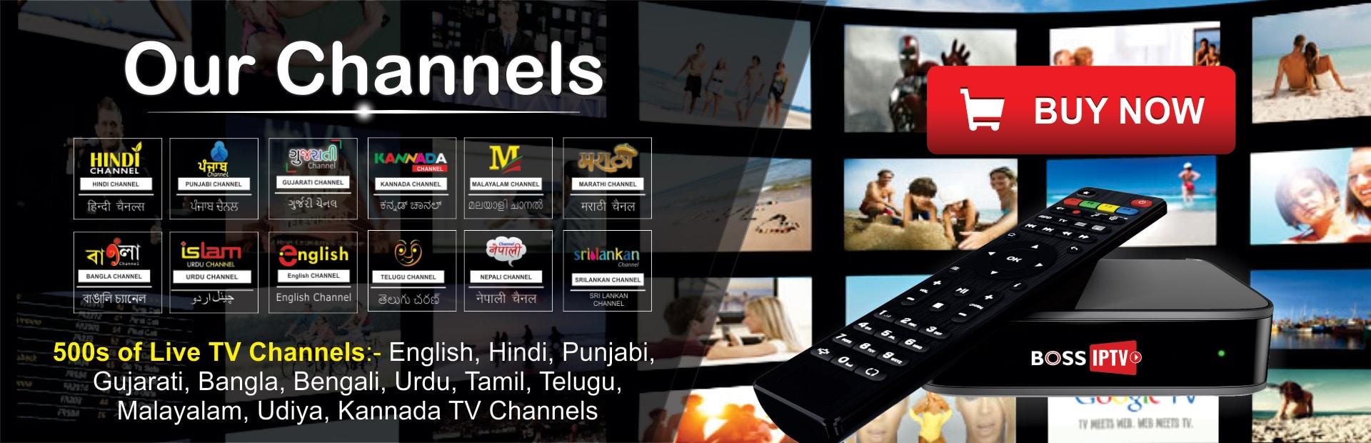 Boss IPTV : 500 Live Regional Channels Hindi, Tamil